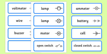 Electric Circuit Symbol Word Cards - Electric, circuit, word cards, cards, flashcards, safety, safe, sign, banner, poster, display, power, electricity, battery