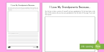 I Love My Grandparents Activity - family, grandmother, grandfather, Grandparents Day, September, writing, gift, appreciation