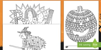 Halloween Themed Coloring Mindfulness Activity Sheets - Halloween, coloring, mindfulness, art, activity sheets, worksheets