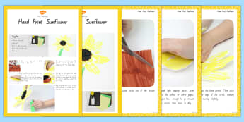 Hand Print Sunflowers Craft Instructions - nz, new zealand, spring, activity