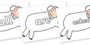 Tricky Words on Hullabaloo Sheep to Support Teaching on Farmyard Hullabaloo - Tricky words, DfES Letters and Sounds, Letters and sounds, display, words