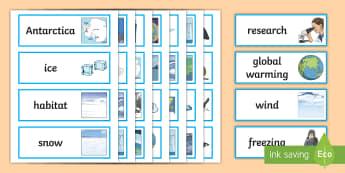 Antarctica Word Cards - Antarctica, Word, Cards, Vocabulary, key terms, display
