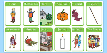 Fionn and the Dragon Vocabulary Flash Cards - Irish history, Irish story, Irish myth, Irish legends, Fionn and the Dragon, vocabulary, flashcards
