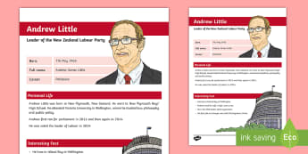 Andrew Little Fact Sheet - New Zealand, 2017 Elections, Government, National, Greens, Labour, New Zealand First, Parliament, Ma