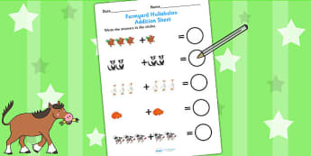 Up to 10 Addition Sheet to Support Teaching on Farmyard Hullabaloo - farm, add, maths