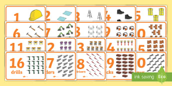 Builders Tools 1-20 Counting A4 Display Posters  - 1-10 Counting Posters (Garden Tools) - 1-10, tools, counting, maths, Math,  posters, Counting, Numbe