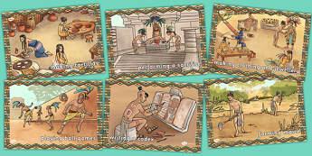 Mayan Civilisation Display Illustrations - maya, display, images