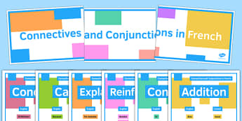 Connectives and Conjunctions Display Posters French - French