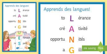 Learn French Acrostic Display Poster - Classroom, organisation, KS3, KS4, Support, reasons, to learn, languages,French