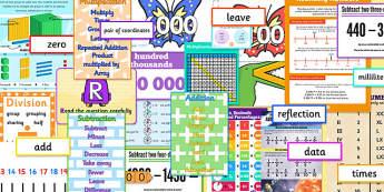 Junior Maths Number Display Pack - maths, number, display pack, display