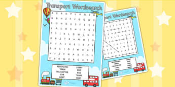 Transport Wordsearch - wordsearch, word search, words, transport, travel, sky, sea, air, transport word game, word game, games, literacy, wet play