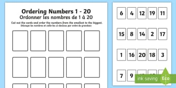 Ordering Numbers Game 0-20 English/French - Ordering Numbers Game 1 to 20 - order, number, maths, activity, numbes, nubers, matsh, seriation, EA