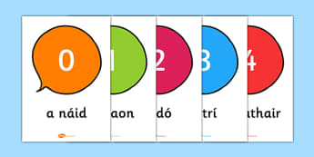 Irish Numbers 0 to 20 - ireland, maths, display, visual aid, support, numerical, order, ones, twenty, , Gaeilge
