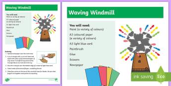 Waving Windmill Hand Painting Activity - art, craft, print, sensory, feet, hands,