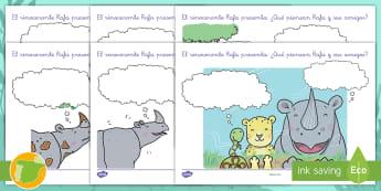 Ficha: Nubes de pensamiento - El rinoceronte Rafa - rinoceronte, rafa, pensar, pensamientos, sentir, sentimientos, leopardo, pitón, amistad, amigos, co