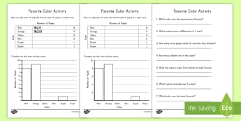 Favorite Color Tally and Bar Chart Activity Sheets - math, numbers, tally, favorite color, communication, activity, worksheets