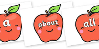 100 High Frequency Words on Cute Smiley Apple - High frequency words, hfw, DfES Letters and Sounds, Letters and Sounds, display words