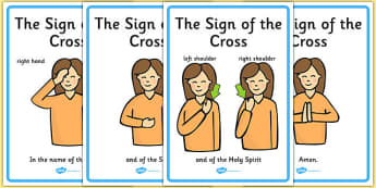 Sign of the Cross Display Posters - Church, Christian, Lord's prayer, prayer, God Jesus, display banner, sign, posters, minister, Vicar, bible, bells, organ, Sunday, cross