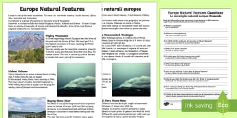 Europe Natural Features Differentiated Comprehension English/Italian - Europe Natural Features Reading Differentiated Comprehension Activity - geography, comprehesion, com