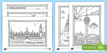 New Zealand Buildings Mindfulness Colouring Pack - New Zealand Mindfulness, colouring, relax, mindful