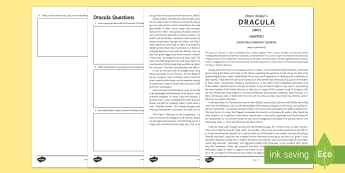 'Dracula' Comprehension Activity  - Dracula, Bram Stoker, Gothic, Vampire, Comprehension, Nineteenth Century Literature