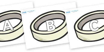 A-Z Alphabet on Silver Rings - A-Z, A4, display, Alphabet frieze, Display letters, Letter posters, A-Z letters, Alphabet flashcards
