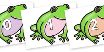 Numbers 0-100 on Green Tree Frog - 0-100, foundation stage numeracy, Number recognition, Number flashcards, counting, number frieze, Display numbers, number posters