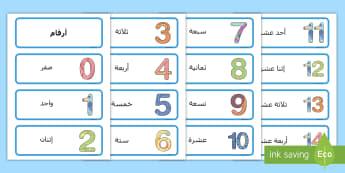 بطاقات كلمات الأرقام  -  البطاقات    كلمات  مفردات   العد  الحساب   لتعليم الاطفال
