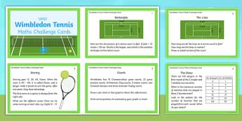 UKS2 Wimbledon Maths Challenge Cards