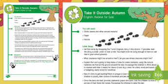 EYFS Take It Outside: Autumn English - Habitat For Sale Activity - Little Acorns, Twinkl originals, fiction, Outdoor and Woodland Learning, Wonder Investigate Learn Di