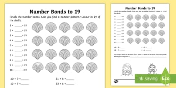 Number Bonds within 20 Activity Sheet - NI, KS1, Numeracy, number bonds within 20, mental maths, shells, home learning, worksheet.