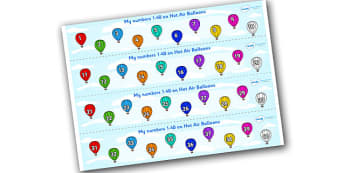 1-40 on Hot Air Balloons Number Strips - Maths, Math, number track, hot air balloon, Numberline, Number line, Counting on, Counting back, counting, space