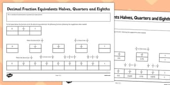 Year 6 Decimal Equivalents Halves Quarters and Eighths Activity Sheet - Key Stage 2, KS2, Maths, Decimals, worksheet