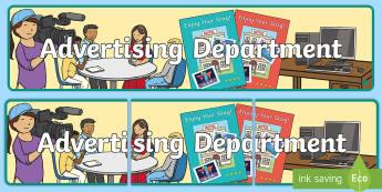 Advertising Department Display Banner - Newspaper Office Role Play Banner-newspaper office, role play, banner, role play banner, newspaper o