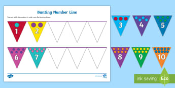 Small bunting number line Activity Sheet - Small Bunting Number Line Activity Sheet - patterned bunting, bunting, themed bunting, editable bunt