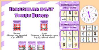 Irregular Past Tense Spinner Bingo - SLI (specific language impairment), grammar, EAL, language disorder, Language delay