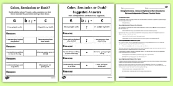 Using Semicolons Colons or Dashes to Mark Boundaries Lesson Teaching Pack