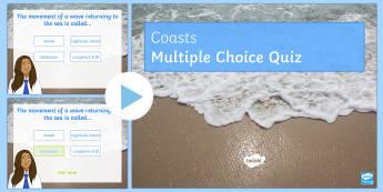 Coasts Quiz 1 PowerPoint - Coasts, Revision, Quiz, Geography, keywords