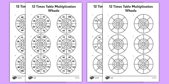12 Times Table Multiplication Wheels Activity Sheet Pack - 12 times table, multiplication wheels, activity sheet, multiplication, wheels, worksheet