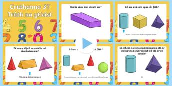 3D Shapes Warm Up and Revision PowerPoint Gaeilge - 3D shapes, shapes, quiz, random, powerpoint, cube, cuboid, cone, sphere, cylinder, pyramid, prism, c