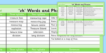 zh Word List - zh sound, word list, word, list, zh, sound, sen