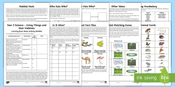 Year 2 Science Living Things and Their Habitats Home Learning Activity Booklet - home learning, science, animals, living things, dead or alive, habitats, microhabitats, micro-habita