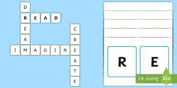 Reading Corner Letter Tile Inspirational Display Cut-Outs - reading corner, display, lettering, inspiration,
