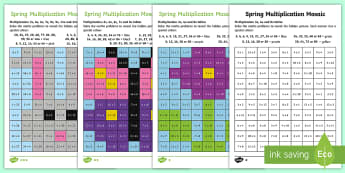 LKS2 Spring Multiplication Mosaics Differentiated Activity Sheets - Spring UK, times tables, times tables practise, differentiated times tables activity sheets, multipl - Spring UK, times tables, times tables practise, differentiated times tables act