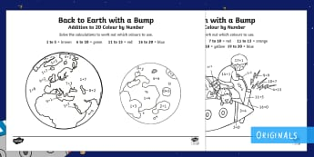 Back to Earth with a Bump Addition to 20 Colour by Number - Back to Earth with a Bump, KS1, EYFs, Addition to 20, Colour By Number