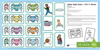 Spider Splat CVC 'u' Words Game - Phonics, Listening skills, speaking skills, Pair work, Station Teaching