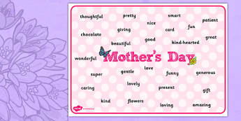 Mother's Day Word Mat - mothers day, word, mat, mothers, day