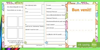 Bun venit copii! Broșură - scriere, română, fișe. activități, septembrie, revenirea la școală,Romanian