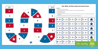 Red, White and Blue Subtraction Board Game - Flag Day, Memorial Day, Independence Day, Veterans Day, Subtraction, Subtraction Problems, Math Cent