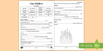 Cape Wildfire Safety Drill Activity Sheet - Safety, drill, wildfire, fire, Cape, fill in the gap, activity, worksheet